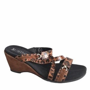 MEPHISTO Leopard Patent Suede Wedge Sandal 7